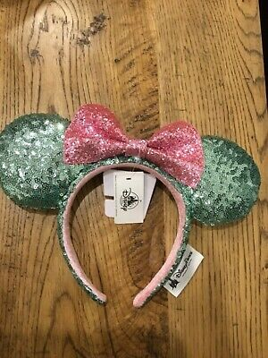DISNEY Parks MINNIE MOUSE EARS Sugar Rush Teal Pink Sequin BOW HEADBAND Hat