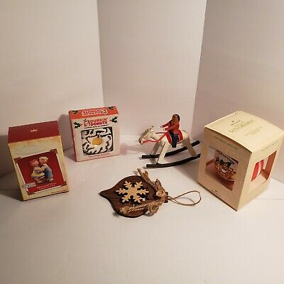 Mixed Lot of Christmas Ornaments-2 wood hand made, 2 Hallmark in box, Kurt Adler