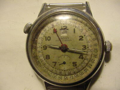 VINTAGE HARVEL Date O Graph Triple Day Date Pointer Calendar Watch PARTS