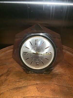 Vintage Estyma travel bedside Alarm clock 2 jewels Germany