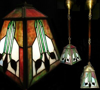 Pair Antique Stickley Era Mission Arts & Crafts Leaded Glass Shade Chandeliers