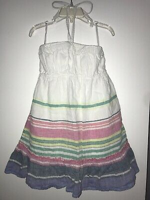Girls Old Navy White Striped Halter Top Dress (Size Small)