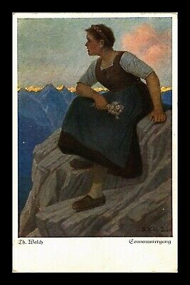 Dr Jim Stamps Woman Watching Sunset Topical Painting Germany Postcard