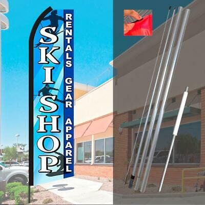 Pack of 2 Ski Shop Rentals Gear Apparel King Swooper Flag Sign Kits with Pole and Ground Spikes