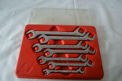 "Snap-On VS807B 7pc SAE Four-Way Angle Head Open-End Wrench Set (3/8–3/4"") w Tray"