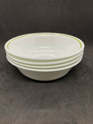 """Set of 4 Corelle Wildflower Meadow Soup Cereal Bowls Green Rim 6-1/4"""" Vintage"""