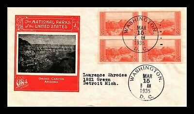 Dr Jim Stamps Us Grand Canyon National Parks Scott 757 Fdc Cover Block