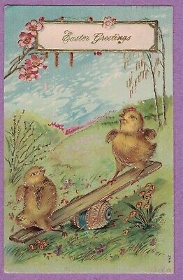 Easter Vtg Pc Baby Chicks Play On Seesaw Gold Gilt Decorated Egg Pussy Willows