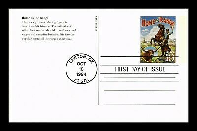 Dr Jim Stamps Us Home On Range Cowboys Legends Of The West Fdc Postal Card