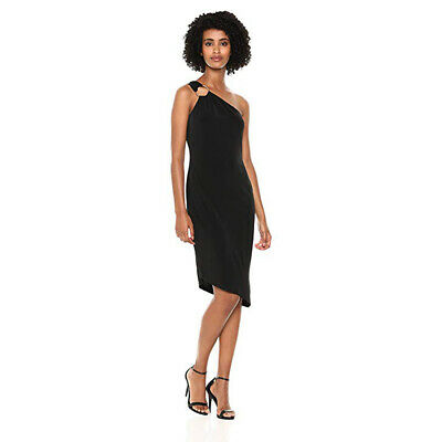 Calvin Klein Women's Jersey One Should Sheath Dress, Black, 4