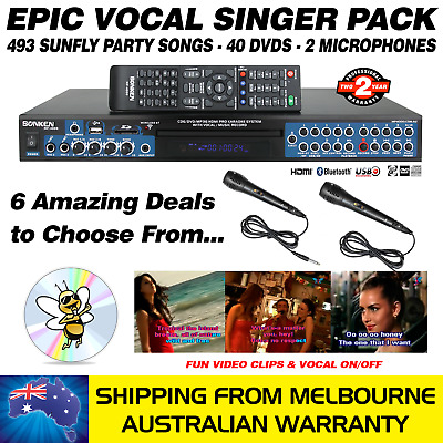 Vocal Singer Mp4000 - 493 Sunfly Songs / 40 Dvds / 2 Mics - Karaoke Machine
