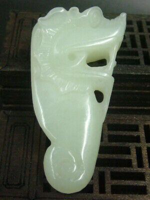 Antique Chinese Nephrite Hetian -OLD jade Hollow Dragon Statue/Pendant