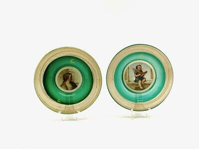 Antique Italian Art Glass Pair Portrait Plates Hand Painted After Old Masters