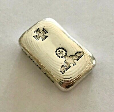 50g SILVER 9999 hand poured bar 1871 Imperial German Eagle with 1871 iron cross