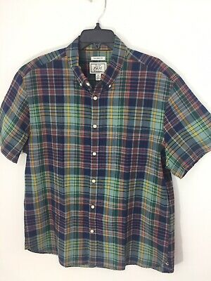 Jos A Bank XL Mens Green Plaid Shirt S/S Button Down Pocket Cotton Madras New