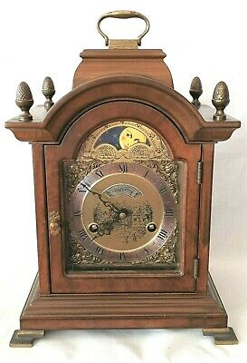 Warmink Mantel Clock Shelf Moon Dial Nut Wood Case 8 Day Key Wind Vintage