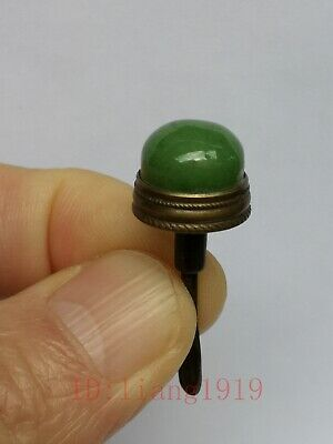 Collection Chinese Ancient Copper Inlay Carving Jade Snuff Bottle Cap Decoration