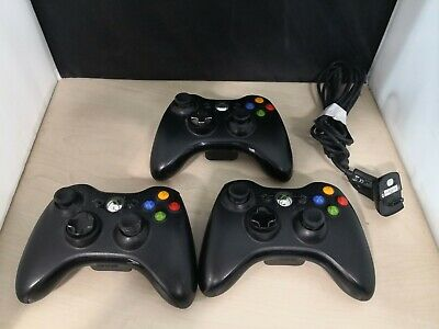 3 x Official Microsoft XBOX 360 Wireless Controllers + Charging Cable #7A