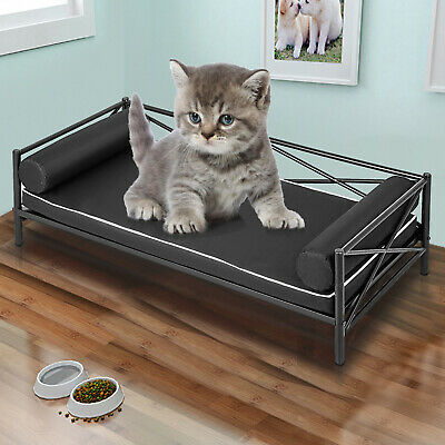 Metal Pet Bed Dog Lounge Sofa w/ 25in Thick Cushion Moisture-proof Oxford Cloth