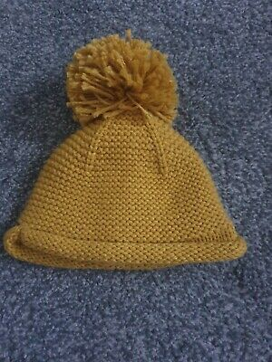Next Yellow Baby Hat knitted pom 3-6m
