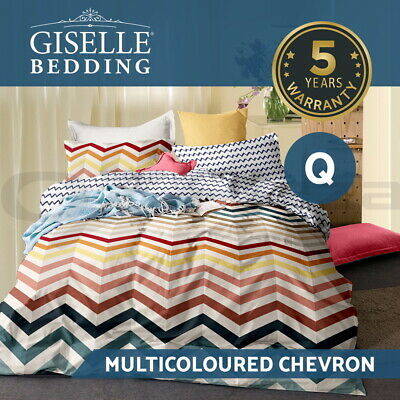 Giselle Queen Quilt Cover Set Bed Reversible Doona Duvet Sets Colourful Wave