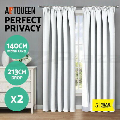 Art Queen 2X Blockout Curtains Pinch Pleat Blackout Room Darkening WH 140x213cm