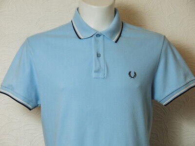 Fred Perry Mens Light & Stretch Blue Polo Shirt Medium Size Twin Tipped