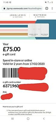 John Lewis Waitrose £75 Gift Card Voucher - can be used Online & In-Store