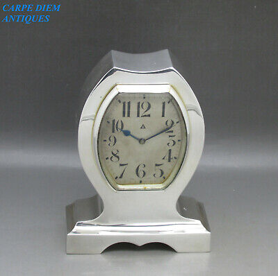 ART DECO SUPERB LARGE HEAVY SOLID STERLING SILVER 8 DAY MANTLE CLOCK 722g 1920