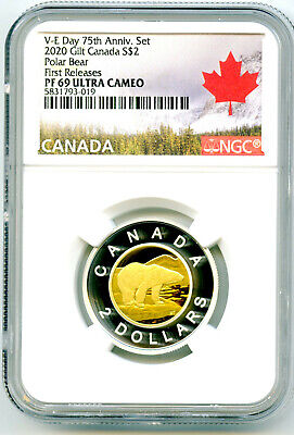 2020 Canada $2 Gilt Silver Proof Polar Bear Toonie Ngc Pf69 Ucam First Releases