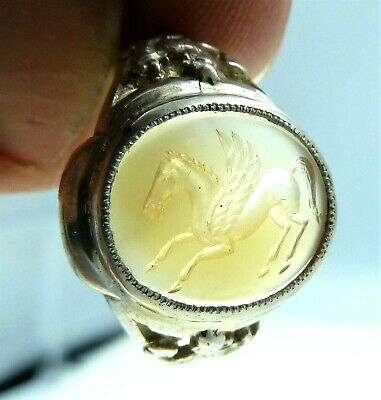 Ring Silver Intaglio Chalcedony ,mythical pegasus and Fortuna,handmade