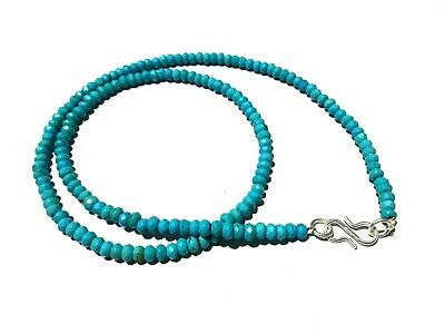 "18""inch Necklace Natural Turquoise Rondelle 4-4.5mm Faceted Gemstone Beads"