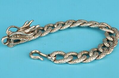 Vintage China Tibetan Silver Dragon Bracelets Fashion Lady Decorative Crafts