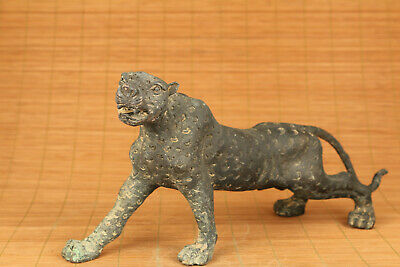 big rare chinese old bronze hand carved leopard statue figure collectable