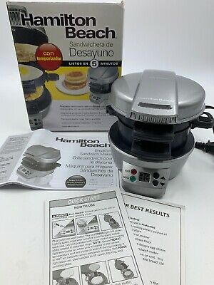 Hamilton Beach Breakfast Sandwich Maker 25478 Timer Electric Easy Cleanup TESTED