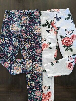 Dex Lot of 2 Girls Floral Leggings Size 5T Blue Gray