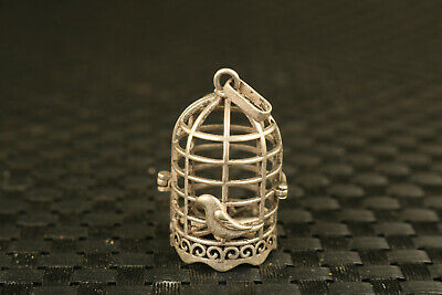 Chinese old Tibet silver hand carved bird cage statue pendant  netsuke