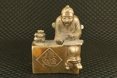 Original chinese bronze hand casting landlord fortune statue figure collectable