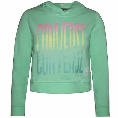 Converse Junior Girls Ombre Cropped Hoodie Sweatshirt Green 466724 G11