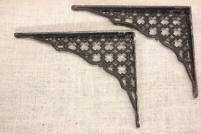 "2 Shelf supports brackets 6"" X 8"" vintage 1880's old rustic cast iron lattice"