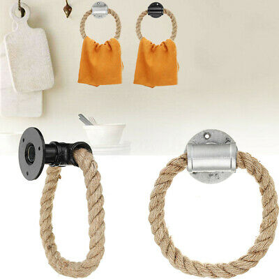Industrial Urban Towel Toilet Roll Holder Wall Ring Jute Rope Hemp Iron