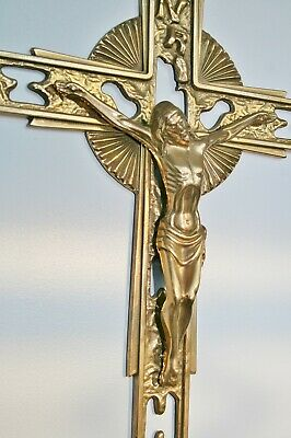 """Vintage Large Heavy Solid Brass Wall Hanging CRUCIFIX - 18"""" x 13.75"""""""