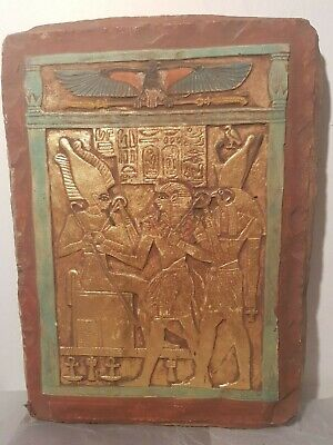 Rare Antique Ancient Egyptian Stela god Osiris Horus,king Amenhotep1388–1351 BC