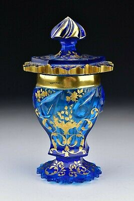 Rare Electric Blue Bohemian Glass Covered Goblet 19th Century