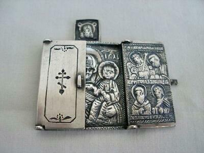 Superb Russian Antique Hallmarked Silver Triptych Travelling Icon.