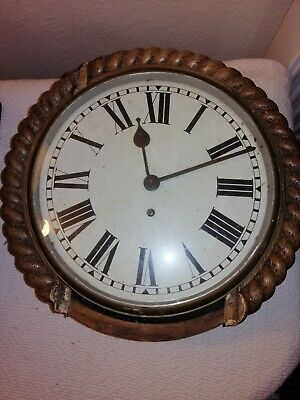 Antique, School / Station Wall Clock With Fusee Movement, Sold For Restoration.