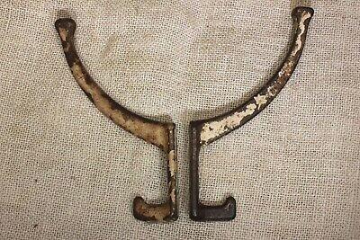 2 old Coat Hook clothes tree robe mission hanger rustic painted brass vintage