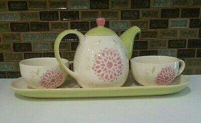 Hues N Brews Tea for Two Set Green Pink Flower Teapot 2 Cups Tray EUC