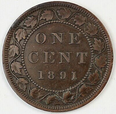 1891 Canada / Canadian One Large Cent / Penny - VG Good Condition - SDLL