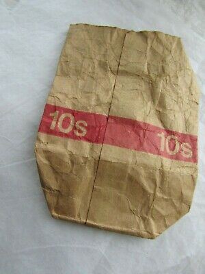 Vintage Used Royal Bank of Scotland Paper Bag for 10 Shillings in Copper Coins